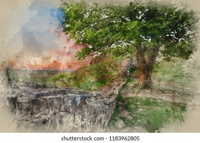 Digital watercolor painting of Stunning landscape image of Sycamore Gap at Hadrian's Wall in Northumberland at sunset with fantastic late Spring light