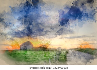Digital watercolor painting of Sunset landscape image of old barn in countryside fields