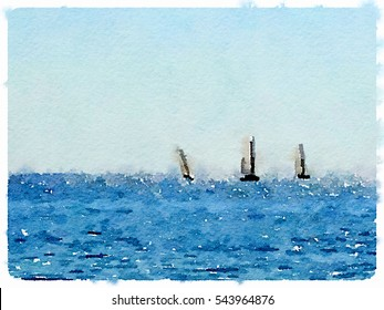 Digital watercolor painting of three sailing boats at sea in Barcelona Spain with space for text.