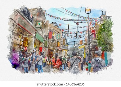 Digital watercolor painting view of  a store in to an amusement park. This area is full of people and excitement. Paint on a white paper.