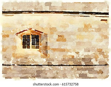 Digital watercolor painting of a window in a curved fort wall with space for text.