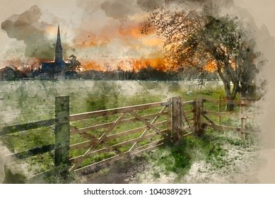 Digital watercolor painting of Winter sunrise landscape Salisbury cathedral city in England