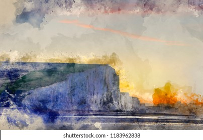 Digital watercolor painting of Winter sunrise and Seven Sisters cliffs