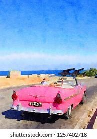 Digital watercolor of pink classic american old car in Havana in Cuba