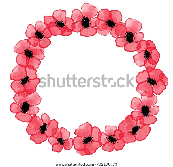 Digital watercolor red poppies wreath on white background, symbol of Remembrance Day