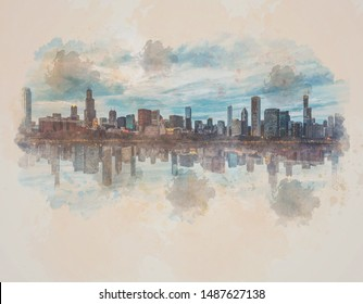 Digital Watercolor Scene of Chicago Cityscape river side, Illinois, United States, Reflection with opposite,  Business Architecture and building with tourist, illustration and art concept