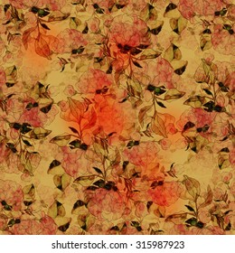 digital and watercolor vintage flowers and leaves - seamless pattern - digital artwork for textiles, fabrics, souvenirs, packaging and greeting cards