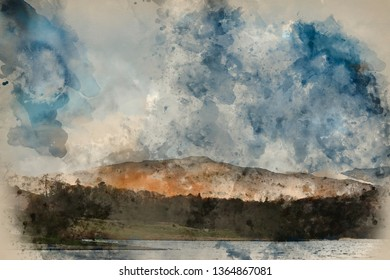 Digital watercolour painting of Beautiful landscape image of countryside around Rydal Water in UK Lake District