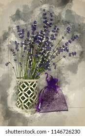 Digital watercolour painting of Beautiful lavender bunch in rustic home styled setting with copy space