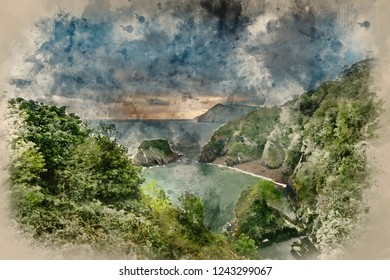 Digital watercolour painting of Beautiful moody sunrise landsape image of small secluded cove at Combe Martin Bay