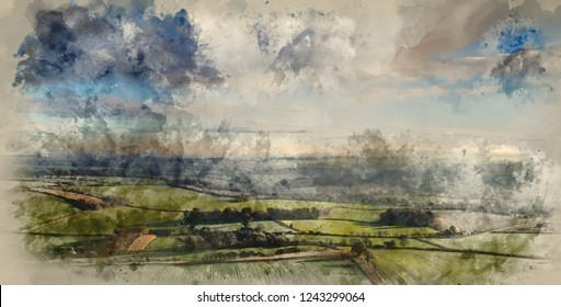 Digital watercolour painting of Beautiful panorama over rolling countryside landscape in Autumn