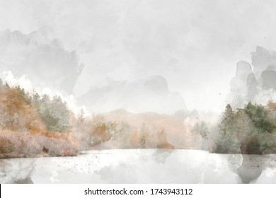 Digital watercolour painting of Beautiful peaceful Autumn Fall landscape of woodland and lake with mist fog during early morning