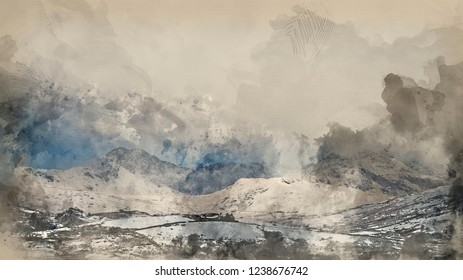 Digital watercolour painting of Beautiful sunrise landscape image in Winter of Llynnau Mymbyr in Snowdonia National Park with snow capped mountains in background