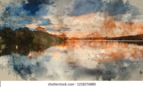 Digital watercolour painting of Beautiful sunsey sky reflected in Autumn Fall lake