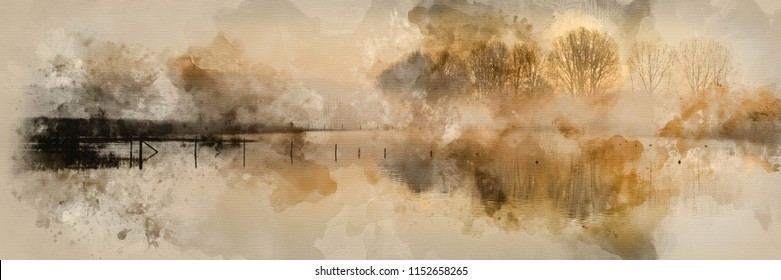 Digital watercolour painting of Beautiful tranquil panorama landscape of lake in mist
