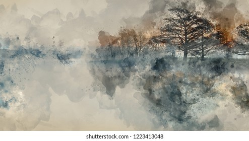 Digital watercolour painting of Beautiful tranquil landscape of lake in mist