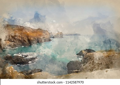 Digital watercolour painting of Kynance Cove high tide sunset