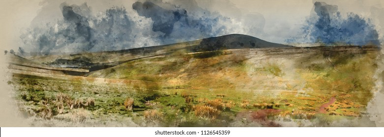 Digital watercolour painting of Landscape panorama view from climb up Corn Du mountain in Brecon Beacons