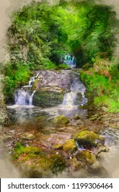 Digital watercolour painting of Lush green forest scene with waterfall flowing through and over rocks covered in lichen and moss