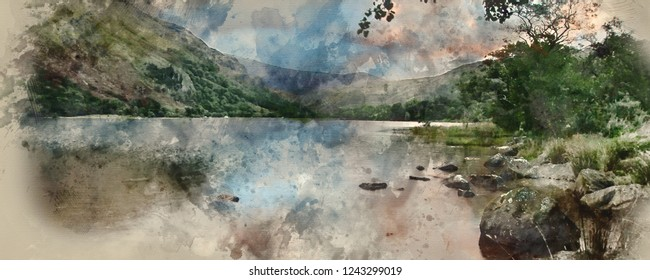 Digital watercolour painting of Panorama landscape stunning sunrise over lake with mountains in background
