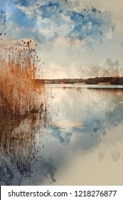 Digital watercolour painting of Peaceful imge of calm lake landscape with vibrant sky and colors