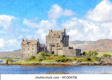 Digital watercolour painting from a photograph of Eilean Donan Castle near the village of Dornie in the highlands of Scotland, founded in the 13th century
