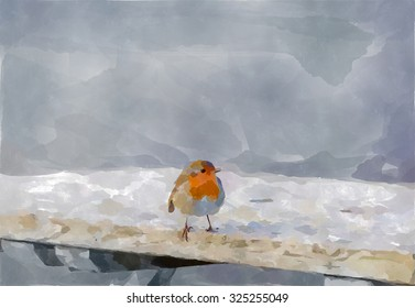 Digital watercolour painting from a photograph of a european robin bird perched on the edge of a garden bench