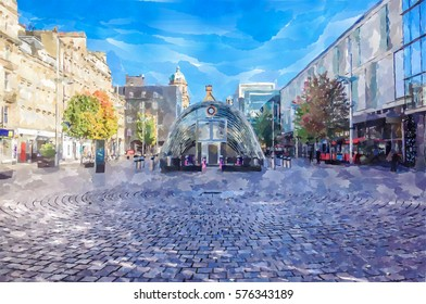 Digital watercolour painting from a photograph of St. Enoch Square, Glasgow, Scotland. underground entrance, cobbled pavement, surrounding shops, trees, daytime.
