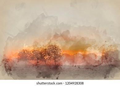 Digital watercolour painting of Stunning foggyAutumn  sunrise English countryside landscape image