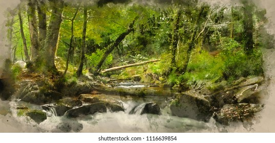 Digital watercolour painting of Stunning landscape of river flowing through lush forest Golitha Falls in England