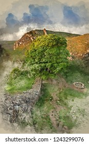 Digital watercolour painting of Stunning landscape image of Sycamore Gap at Hadrian's Wall in Northumberland at sunset