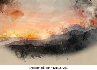 Digital watercolour painting of Stunning sunrise mountain landscape with vibrant colors and beautiful cloud formations