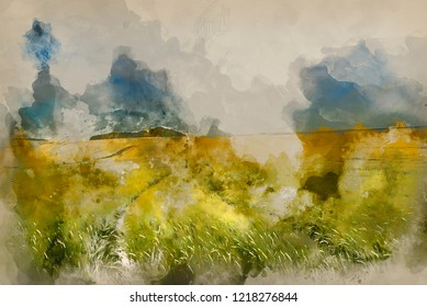 Digital watercolour painting of Summer landscape over agricultural farm fields of crops
