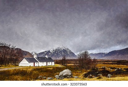 Digital watercolour from a photograph of a rural landscape setting during winter with Blackrock Cottage in front of snow capped mountain Buachaille Etive Mor at Glencoe, Scotland