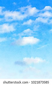 Digital watercolour of white fluffy clouds on blue sky