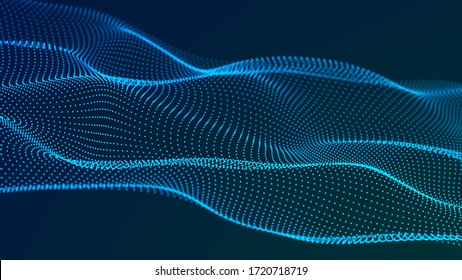 Digital wave with meny dots. Abstract backdrop of dynamic wave. Technology or science banner. 3d