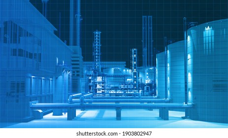 Digital wireframe scan view from infarad camera building scan in the dark in oil refinery factory building , 3D rendering for background composite.