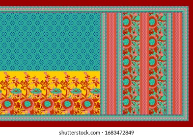 digital woman wear illustration paisley background with multi colored ornaments pattern design