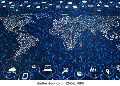 Digital world with connections to global data communication network technology, worldwide business and finance, internet of things (IoT), marketing, fintech, concept with map, icons and computer code
