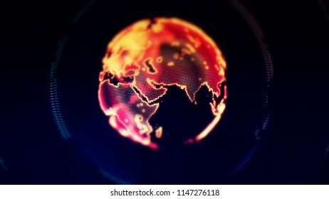 Digital World Made in Computer Graphics, World Connections Concept. Big Data, Global Connections, Cryptocurrency, Blockchain.