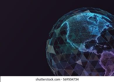 Digitale Weltkarte. Globales Netzwerk Satellitentechnologie der Erde