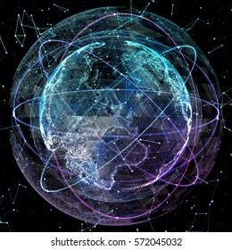 Digital world map. Global network satellite technology of earth
