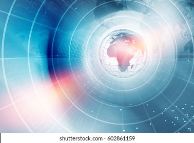 Digital World News Background, Concentric Circle Around the Earth Globe.