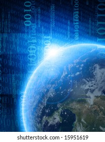 digital world: planet earth with integrated bits and bytes
