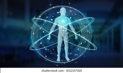 Digital x-ray human body scan interface on blue background 3D rendering