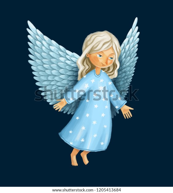Christmas Scene Drawing.Digitall Drawing Christmas Scene Smiling Angel Stock