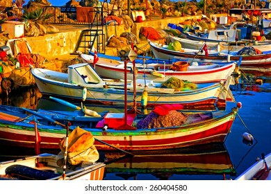 A digitally constructed painting of small fishing boats in harbour