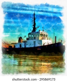 A digitally constructed painting of a tugboat in aquarelle style