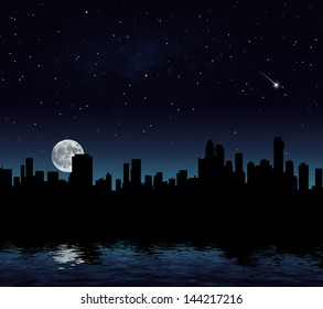 Digitally created cityscape at dusk. Moon image furnished by NASA.
