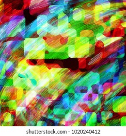 A digitally created colorful manic abstract background design with brush strokes.